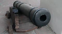Ancient artillery cannon with zoom in Stock Footage