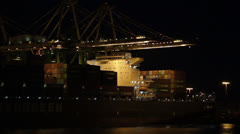 Cargo Port Night Operations - Timelapse Stock Footage