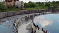 Water overflow from clearing basin. Water treatment plant Stock Footage