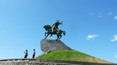 salavat yulaev monument in ufa russia - timelapse - stock footage