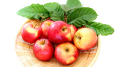 Close-up red apples on the basket Stock Footage
