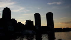 Boston Skyline night 3 Stock Footage