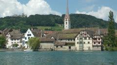 Stein am Rhein, River Rhine, Switzerland Stock Footage