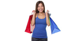 Shopping woman holding shopping bags happy Stock Footage