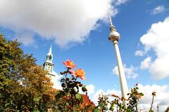 marienkirche and tv tower in berlin - stock photo