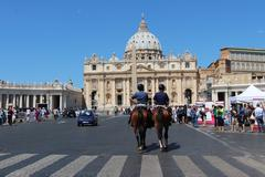 Two horses at Vatican City - stock photo