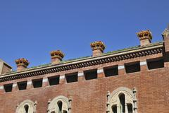 Chimneys on hospital of saint paul. barcelona. spain Stock Photos