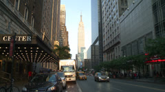 Empire State Building Through Building Scape Stock Footage