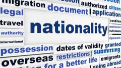 Nationality creative words conceptual background Stock Footage