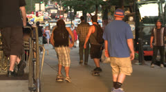 Skateboarding Down The Sidewalk in NYC Stock Footage