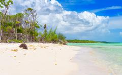 Beautiful virgin beach at coco key in cuba Stock Photos