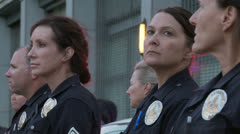 Female Police Officers at Rally Stock Footage