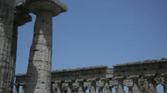 Columns of Two Ancient Greek Temples Blue Sky Background - 29,97FPS NTSC Stock Footage