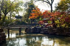 autumn in a chinese garden - stock photo