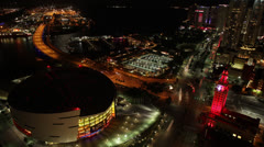Miami Heat American Airlines Arena/Port of Miami/Freedom TowerOverhead View Stock Footage