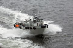 Harbor Master boat escorts cruise ship out of port Alaska Stock Photos