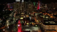 Downtown Miami Overhead View at Night - stock footage