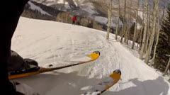 man skiing off jump - stock footage