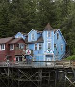 Ketchikan Alaska matkailun Creek Street kauppoja Panorama Kuvituskuvat