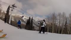 skiing in park city mountain resort utah - stock footage