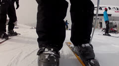 skiing down hill - stock footage