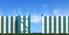 blue andwhite  wooden fence with gate on sky background - stock illustration