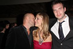 "andrew howard, tess panzer, simon boyes.""blood river"" los angeles premiere - - stock photo"
