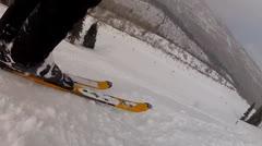 downhill skiing through powder - stock footage
