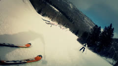 downhill skiing very fast at park city - stock footage