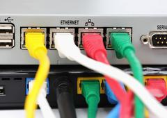 Utp lan connect the ethernet port on the back of the router. Stock Photos