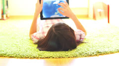 Teenage Girl Using Digital Tablet Stock Footage