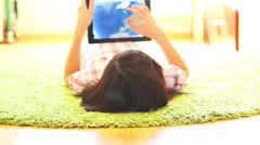 Teenage Girl Using Digital Tablet - stock footage