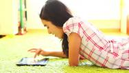Stock Video Footage of Teenage Girl Using Digital Tablet