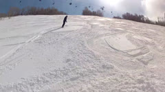 Snow boarding on mountain Stock Footage