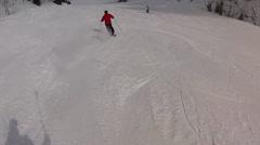 man with helmet skiing - stock footage