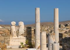 Ruins of cleopatra house, delos, greece Stock Photos