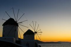 windmils of mykonos island, greece - stock photo