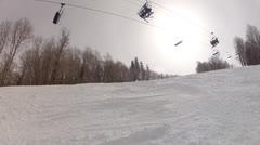 woman powder skiing - stock footage
