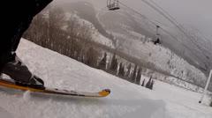 powder skiing - stock footage