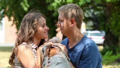 Flirting couple Stock Footage