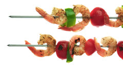 Skewered brochette, food Stock Footage