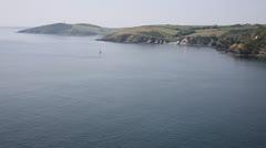 Cornwall coast near Fowey England english coastline Stock Footage