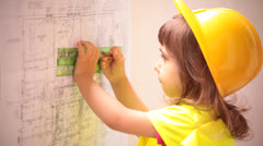 Child Constructor Architect Construction Man - stock footage