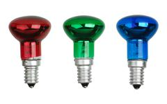 red, green and blue spot tungsten lightbulbs - stock photo