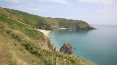 Lantic Bay Cornwall England near Fowey and Polruan with sound Stock Footage