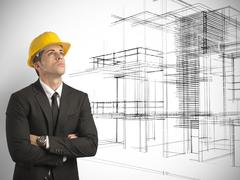 architect thinking a new project of modern buildings - stock illustration