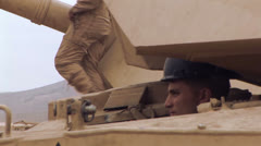 M1A1 Abrams Driver maneuvering Stock Footage