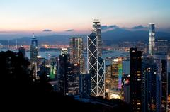 Central district skyscrapers at sunset, Hong Kong Island Stock Photos
