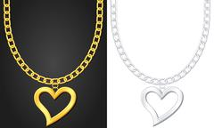 necklace with heart symbol - stock illustration