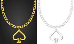 Necklace with spade symbol Stock Illustration